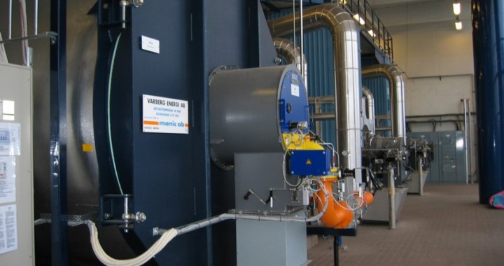 Varberg Energi AB. Hetvattenpanna med påbyggd ekonomiser. 14 MW naturgas