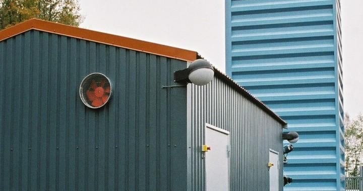 Kungälv Energi AB, Stålkullen. Pelletspanna från Hollensen monterad i container. Pellets 500 kW
